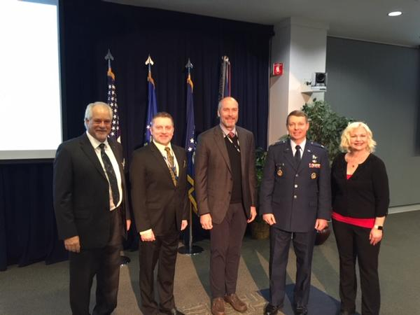 Col. Russ Teehan, USAF, portfolio architect of the Air Force Space and Missile Systems Center (2nd from r), presented at the January lunch/meeting. Pictured with him are (l-r) Douglas Holker, AFCEA regional vice president (l), Scott Beidleman, chapter president 2019, Bill Page, chapter president 2018, and Julie Ann Phinney at the January lunch/meeting.
