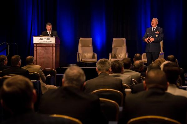 Space and Missile Systems Center (SMC) participates in the Space Industry Days at Los Angeles Marriott, California, in October 2019. Col. Scott Beidleman, USAF (Ret.), chapter president and executive director of Millennium Engineering and Integration, introduces Lt. Gen. John F. Thompson, USAF, commander of SMC. The commander makes opening remarks and emphasizes the importance of speed and industrial partnership to developing, acquiring and sustaining military space systems. Space Industry Days provides industry an opportunity to receive presentations from the U.S. Air Force and SMC senior leadership on current and emerging opportunities.