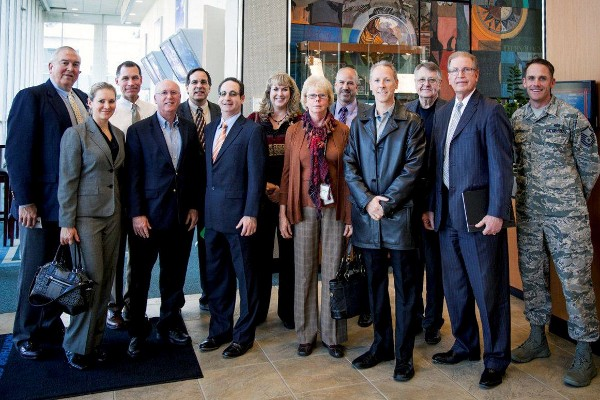 The chapter�s board of directors holds its December board meeting at Northrop Grumman in Redondo Beach. This included a tour of the latest AEHF communications satellite, as well as the James Webb Space Telescope, which are currently under construction there. (Northrop Grumman photo)