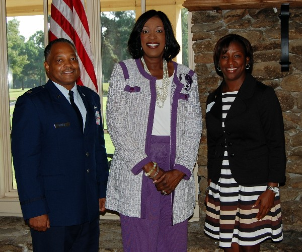 Lt. Col. Leonard Boothe, chapter president (l) and Charisse Stokes director of the chapter�s Education Foundation (r) thank Dr. Gwendolyn Boyd, president, Alabama State University, for discussing STEM outreach efforts with the chapter in August.