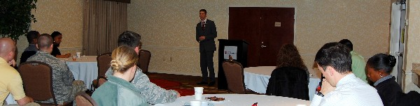 Brandon Allen, independent financial adviser, Integrity Agency Corporation, discusses tips for a successful financial future with Business Over Breakfast attendees in February.