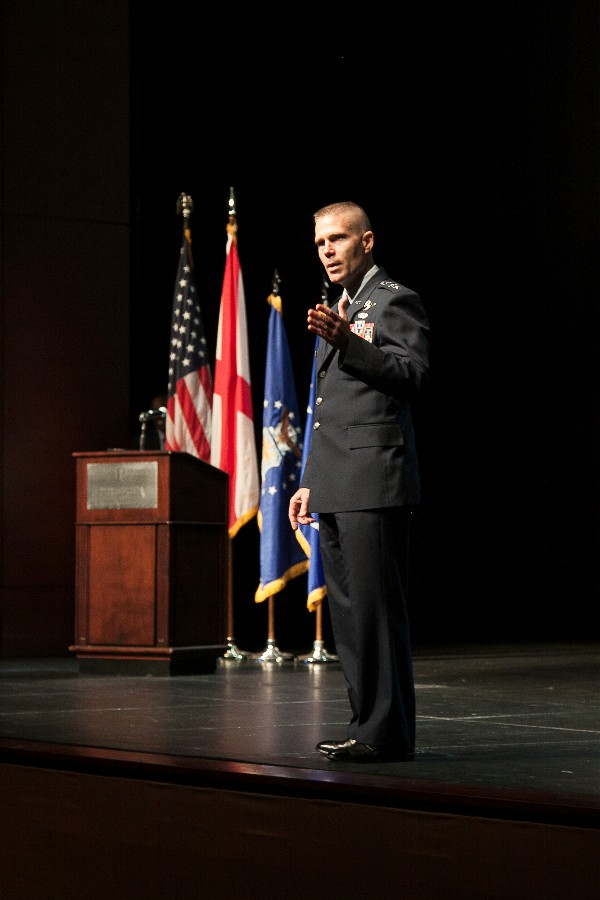 Lt. Gen. Steven Kwast, USAF, commander and president, Air University, speaking at the May information technology summit.