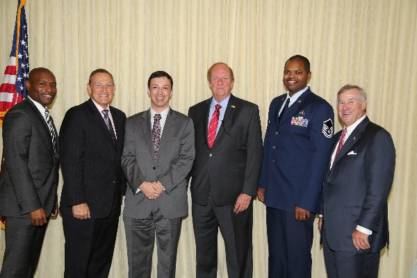 The chapter celebrates award winners and guests in August, including (l-r) Eric Sloan, chapter president; Lt. Gen. Michael Basla, USAF (Ret.); Jason Frye, Air Force Life Cycle Management Center (AFLCMC), Young AFCEAN of the Year; Tommy Pope, Industry AFCEAN of the Year; Master Sgt. Carlton Young, USAF, Government AFCEAN of the Year; and Todd Strange, mayor of Montgomery, Alabama.