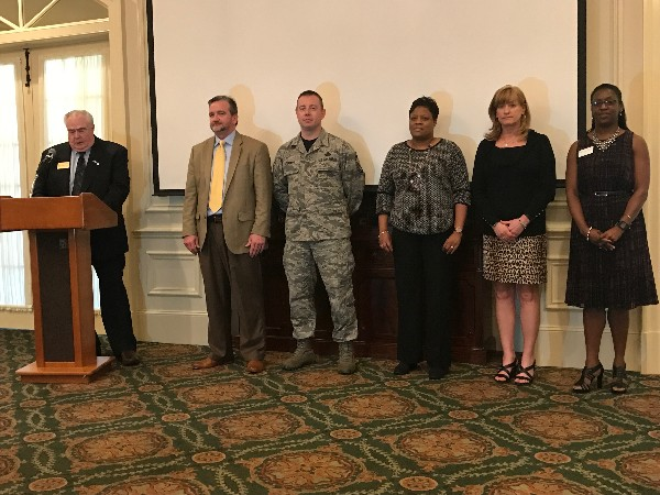 At the chapter's February luncheon, Midsouth Regional Vice President Tom Gwaltney (l) formally installs 2017 elected officers (l-r) Brian Knott, president; Senior Master Sgt. Neil Stewart, USAF, vice president; Cheryl Brown, treasurer; Candace Akerson, secretary; and Charisse Stokes, director, Education Foundation.