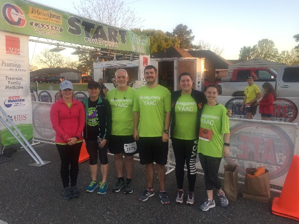 The Centerpoint Half Marathon and 5K team running for charity in April includes (from l) Gena Howard; Lee Ann and Jim Bradley; Adam and Heather Vencill; and Brandy Silvers.