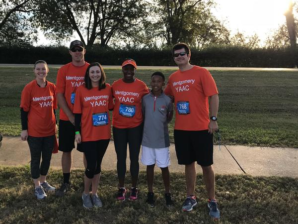 Young AFCEANs attending the Nitty Gritty 5K in October are (l-r) Brandy Silvers; John Brown; Tija Brown; Charisse Stokes; Dylan Stokes; and Adam Vencill.
