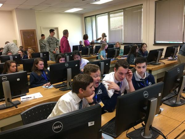 Students work to solve problems during breakout sessions in April at Camp IT. The chapter's Education Foundation and the Montgomery Area Chamber of Commerce's TechMGM, an initiative to leverage the region's technology-related assets, hosted the event.