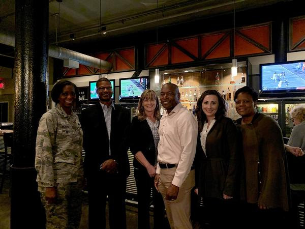 At the annual membership mixer in October, the chapter presented officer nominees (l-r) Col. Kyna McCall, USAF, president; Ray Perry, vice president; Candace Akerson, secretary; Eric Sloan, director, Education Foundation; Tija Brown, Young AFCEA Advisory Council president; and Cheryl Brown, treasurer.