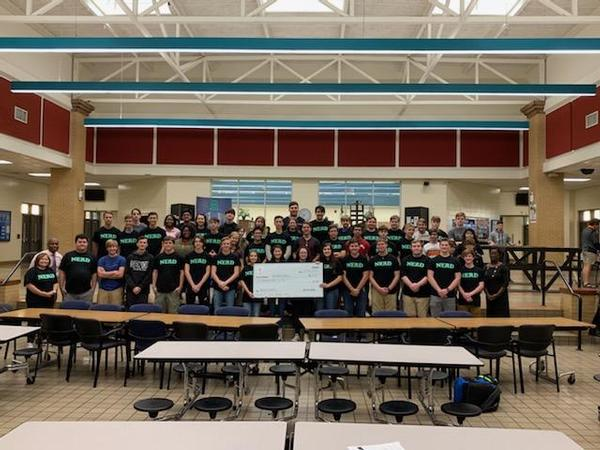 Wetumpka High School Robotics Club receives their donation from the Montgomery Chapter Education Foundation in October.
