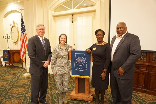 Receiving their awards in November are (l-r) Jim Dendis, Industry AFCEAN of the Year; Master Sgt. Brandy Silvers, USAF, Young AFCEAN of the Year; Charisse Stokes, Montgomery Chapter Life-Time Achievement Award; and Herb Hunter, Air Force Life Cycle Management Center, Government AFCEAN of the Year.