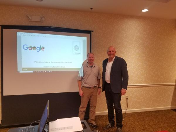 Senior Master Sgt. Brian Davis, USAF, superintendent, EPME Distributed Learning, Barnes Center, Maxwell Air Force Base, Gunter Annex, and Tom Wojszynski, Southeast regional manager for Google Cloud, thank attendees and close the February workshop.