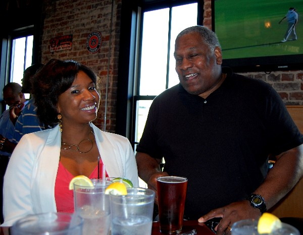 Tanisha Perry and Herbert Hunter enjoy network at the Young AFCEA Spring Social in April.