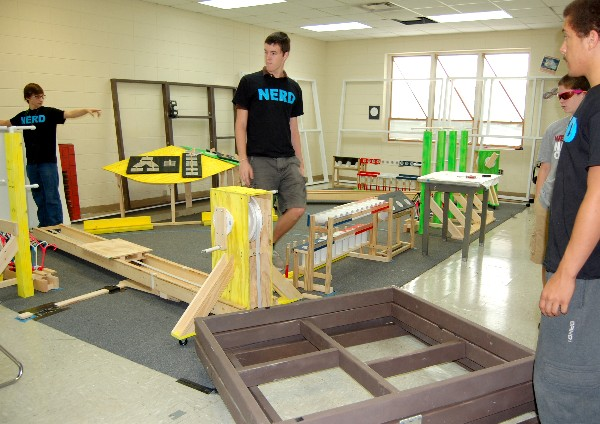 Students use teamwork while working on a project in one of Wetumpka High Schools robotics labs in October.