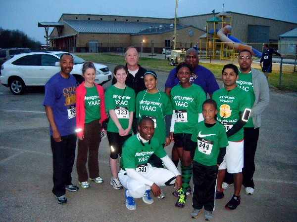 Team YAAC stops for a group picture before running the half marathon and 5k events in the March Centerpoint Run.