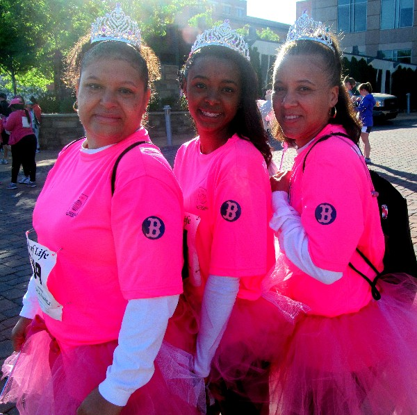 Members of Team YAAC proudly sport head to toe pink during the Walk of Life 5K in April.
