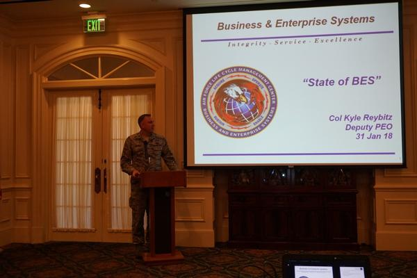 Col. Reybitz presents his State of the BES address to the chapter in January.