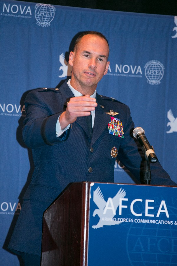 Brig. Gen. Brian M. Killough, USAF, director, Warfighter Systems Integration, addresses the chapter in October.