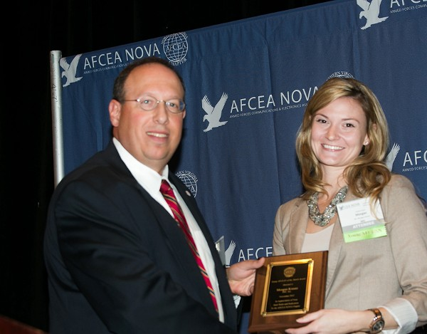 In November, Cusano presents the chapter�s Young AFCEAN Award to Morgan Kreutz, Information Management Consultants.