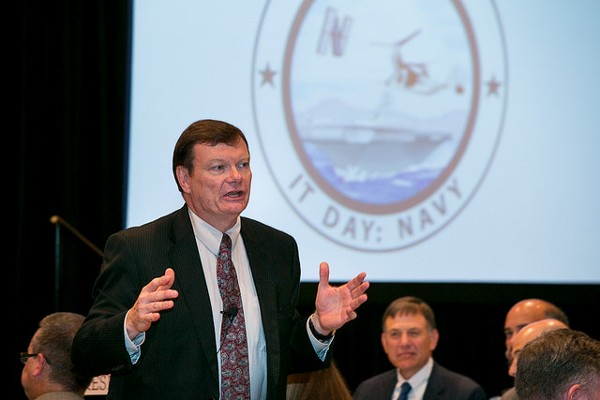Terry Halvorsen, acting Defense Department chief information officer, delivers morning keynote at the chapter�s Naval IT Day in June.