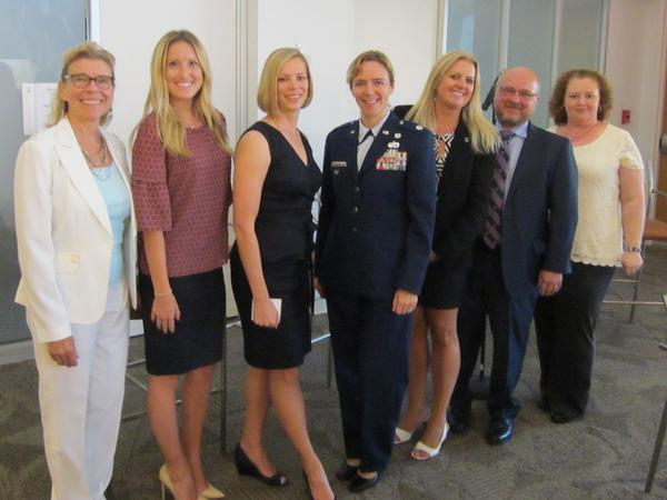 Participating in the chapter's Women in NOVA (WIN) first panel last July are (l-r) Susan Shuryn, Hayley Kinnally (Young AFCEANs), Kelly Wenner (WIN), Lt. Col. Samantha Haberlach, USAF, Tamara Greenspan (WIN), John Koski Jr. and Johanna Curry.