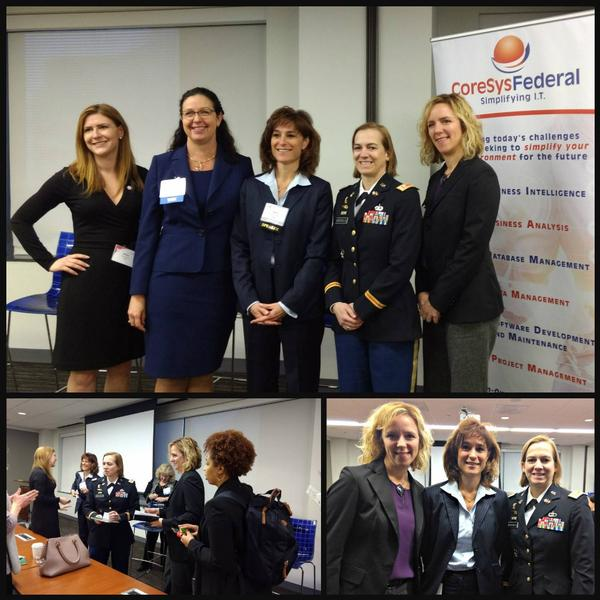 In February, the chapter's Women in NOVA lunch panel gathers for guest speakers' presentations on Innovation and Agility. Pictured (l-r) are Melissa Sathmary, Kristyn Jones,  Patty St. George, senior partner, KPMG Inc., Lt. Col. (P) Anne Wiersgalla, USA, director, Strategic Initiatives Group/Strategic Communications Headquarters Department of the Army, Chief Information Officer/G6 and Lt. Col. (Ret.) Samantha Haberlach, deputy director, Human Capital Management Practice, Definitive Logic.