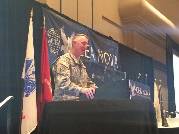 In March, Maj. Gen. Gary Cheek, USA, assistant deputy chief of staff, headquarters Department of the Army, speaks at Army IT Day.