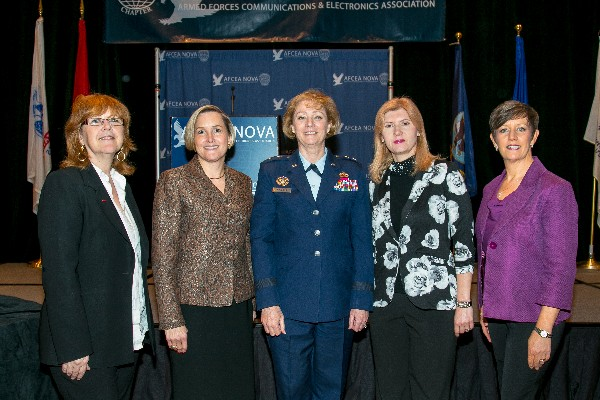 Members of the chapter�s Women in NOVA (WIN) group join with Gen. Masiello (c) at the April luncheon.