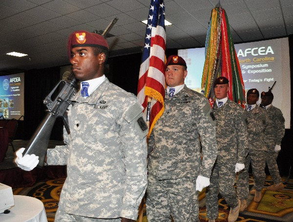 The 18th Airborne Corps Honor Guard conducts the flag procession during the chapter's first Symposium and Exposition in November.