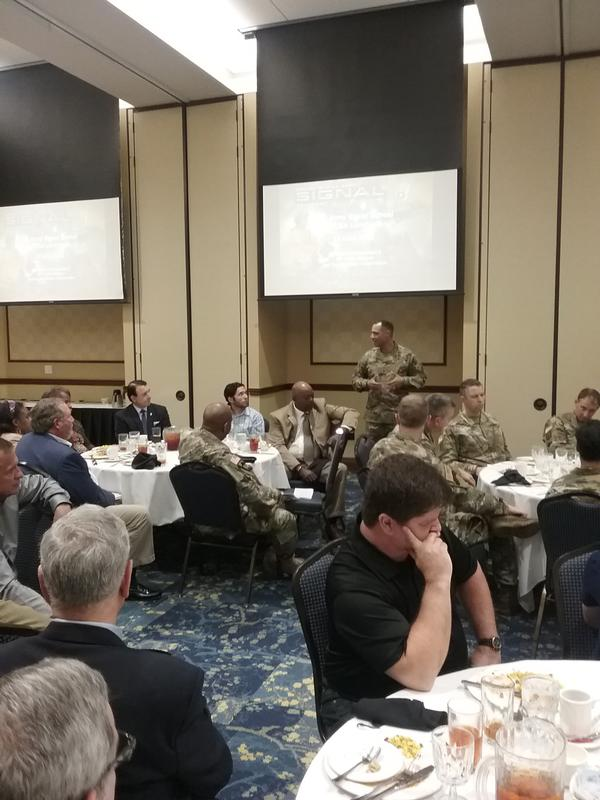 Brig. Gen. Robert L. Edmonson II, USA, the 38th chief of signal and Signal School commandant, speaks to the crowd at the chapter's June luncheon about the need to train for change.