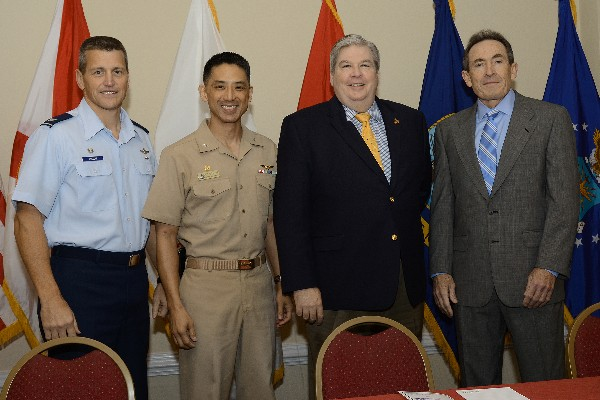 Speakers at the Combined Professional Association�s 13th annual Team Orlando Defense Forum Breakfast in January include (l-r)) Col. Franz Plescha, USAF, Air Force Agency for Modeling and Simulation; Capt. Steven �Snak� Nakagawa, USN, Naval Air Warfare Center Training Systems Division; Daniel Torgler, U.S. Marine Corps program manager for training systems; and Dr. Jim Blake, U.S. Army program executive officer for simulation, training and instrumentation.