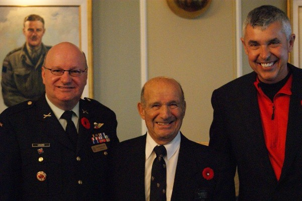 In November, Col. Martin (l) gathers with Col. Hart (c) and Barry Leffew, ADOBE (luncheon sponsor).