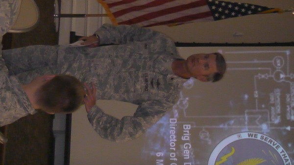 Brig. Gen. David Uhrich, USAF, Air Combat Command A-6, shares his views on cyber, communications, mission assurance, mobile capabilities and cyber career field challenges with luncheon attendees in May.