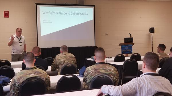 During a continuing education session at April's TechNet Fort Bragg, Tony Pierce of Cisco touches on the issues facing warfighters in an ever-changing cyber battlefield. The chapter provided volunteer support during this course, one of five that qualified for continuing education units (CEUs).