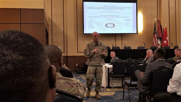 Maj. Gen. James Mingus, USA, commander, 82nd Airborne Division, sets the tone of Technet with a an opening slide. Their mission command statement says,
