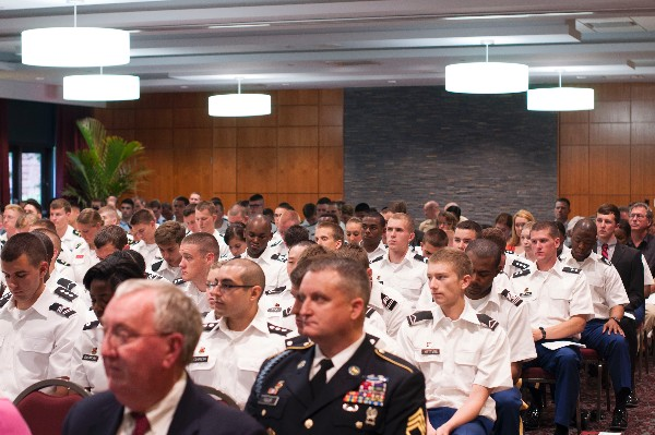 Tri-service ROTC cadets, presenters and guest join together in April at the Campus Room of Capstone Hall, University of South Carolina, for the presentation of ROTC awards.