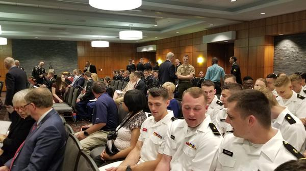 At the April ceremony, a large crowd of presenters, cadets, midshipmen and family members support the winners for their hard work and scholastic achievement. Those attending the University of South Carolina ROTC Awards ceremony witness over 150 awards given out to deserving and talented cadets and midshipman. Close to 50 organizations present awards to these ROTC students during these ceremonies.