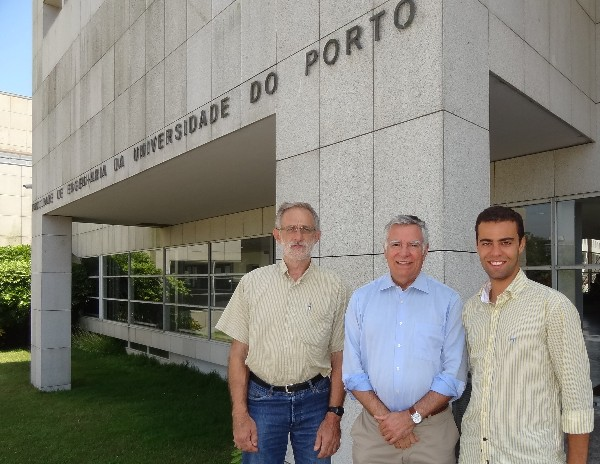 In July, Rear Adm. Carlos Rodolfo, PRT NA (Ret.) (c), Portugal Chapter president, gathers at the Faculty of Engineering of the Porto University with Jose Carlos Alves (l), faculty adviser for the student club, and Jose Valente, who assumed the role of student club president.