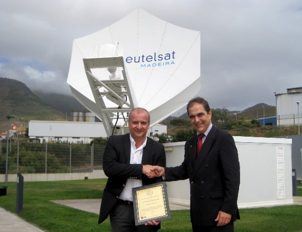 In May, Maj. Gen. Miguel Rosas Leit�o, PRT A (Ret.) (r), chapter vice president, presents Roberto Almeida Santos, director of Eutelsat Madeira, with a corporate membership certificate recognizing Eutelsat Centre of Telemetry, Command and Ranging of Satellites, located in Madeira Island, as a member of AFCEA.