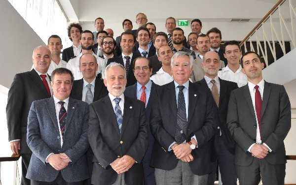 Students from three Portuguese clubs gather in May with industry and chapter representatives, including Rear Adm. Carlos Rodolfo, PRT N (Ret.), RVP Atlantic Region (2nd from r), and Rear Adm. Mario Durao, PRT N (Ret.), chapter president (3rd from r).