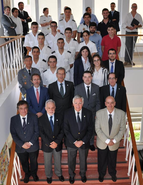 Portuguese student chapters members gather in June with chapter leaders, including (front row, 2nd from r) Rear Adm. Carlos Rodolfo, PRT N (Ret.) regional vice president, Atlantic Region, and Rear Adm. Mario Durao, PRT N (Ret.), chapter president (3rd from the r).