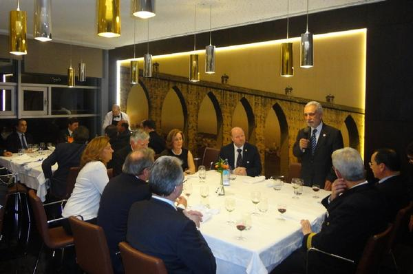 Chapter President Rear Adm. Mario Durao, PRT N (Ret.), speaks at the 30th anniversary dinner in February at the restaurant of the Order of Engineers in Lisbon, Portugal.