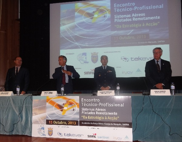 At the opening session of the chapter's October meeting are (l-r) Professor Joao Correia, director DGIE of the Portuguese Ministry of Internal Affairs; Maj. Gen. Manuel Chambel, PRT, National Armaments director; Maj. Gen. Joaquim Borrego, commander, Portuguese Air Force Academy; and Rear Adm. Carlos Rodolfo, PRT NA (Ret.), chapter president.