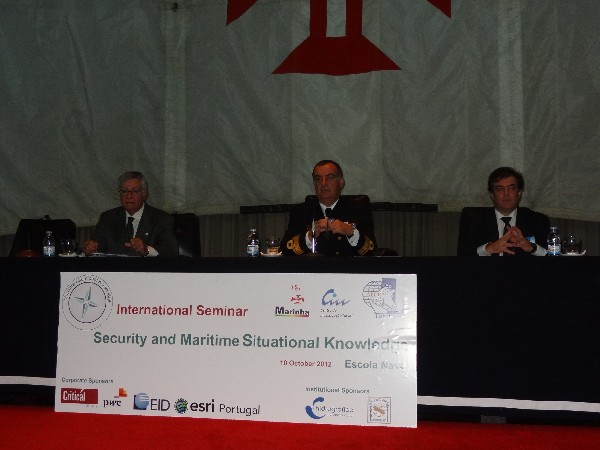Speaking at the chapter�s opening seminar session in October are (l-r) Rear Adm. Carlos Rodolfo, PON (Ret.), chapter president; Rear. Adm. Seabra de Melo, PON, commander of the Portuguese Naval Academy; and Professor Victor Lobo, director of CINAV.