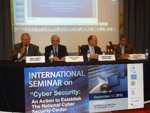 Speaking at the chapter�s opening seminar in September are (l-r) Rear Adm. Carlos Rodolfo, PON (Ret.), chapter president; Vice Adm. Torres Sobral, PON (Ret.), National Security Authority; James Michael, professor at the U.S. Naval Postgraduate School; and Cmdr. Oscar Monterrosa, USN, U.S. Embassy in Lisbon, Portugal.