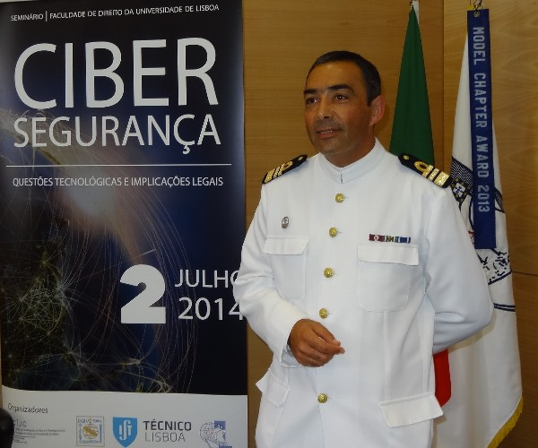 Cdr. Ribeiro Correia, professor at the Portuguese Naval Academy, addresses the chapter conference, in July, on information security management.