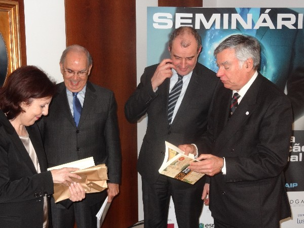 In January, Rear Adm. Carlos Rodolfo, PON (Ret.) (r), chapter president, and Figueiredo Lopes (2nd from l), president of EuroDefense � Portugal, thank the keynote speakers: Koen Gijibers, general manager of the NATO Communications and Information Agency, and Professor Maria da Graca Carvalho, a member of the European Parliament.