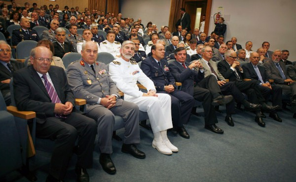 The audience at the chapter's celebration of its 25th anniversary in June includes (1st row l-r): Dr. Julio Pereira, secretary-general of the Intelligence System of the Portuguese Republic; Gen. Jose Pinheiro, chief of the Air Force Staff; Adm. Macieira Fragoso, chief of Navy Staff; and Gen. Carlos Geronimo, chief of Army Staff.