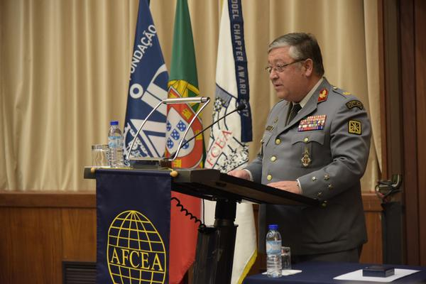 Portuguese Chief of Armed Forces Gen. Artur Neves Pina Monteiro speaks at the closure of the February ceremony.