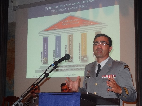 Lt. Col. Viegas Nunes, PRT A, Portuguese Military Academy, presents a perspective for a national cybersecurity strategy during the chapter�s September conference.