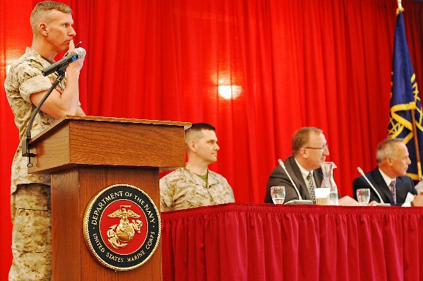 At USMC IT Day in April, Brig. Gen. Eric Smith, USMC, senior military assistant to the deputy secretary of defense, moderates a panel on cyber.